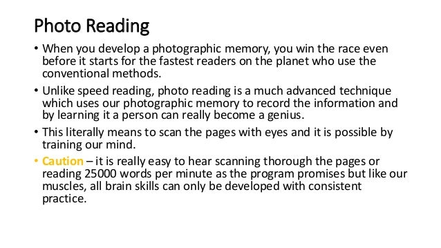 how to achieve photographic memory