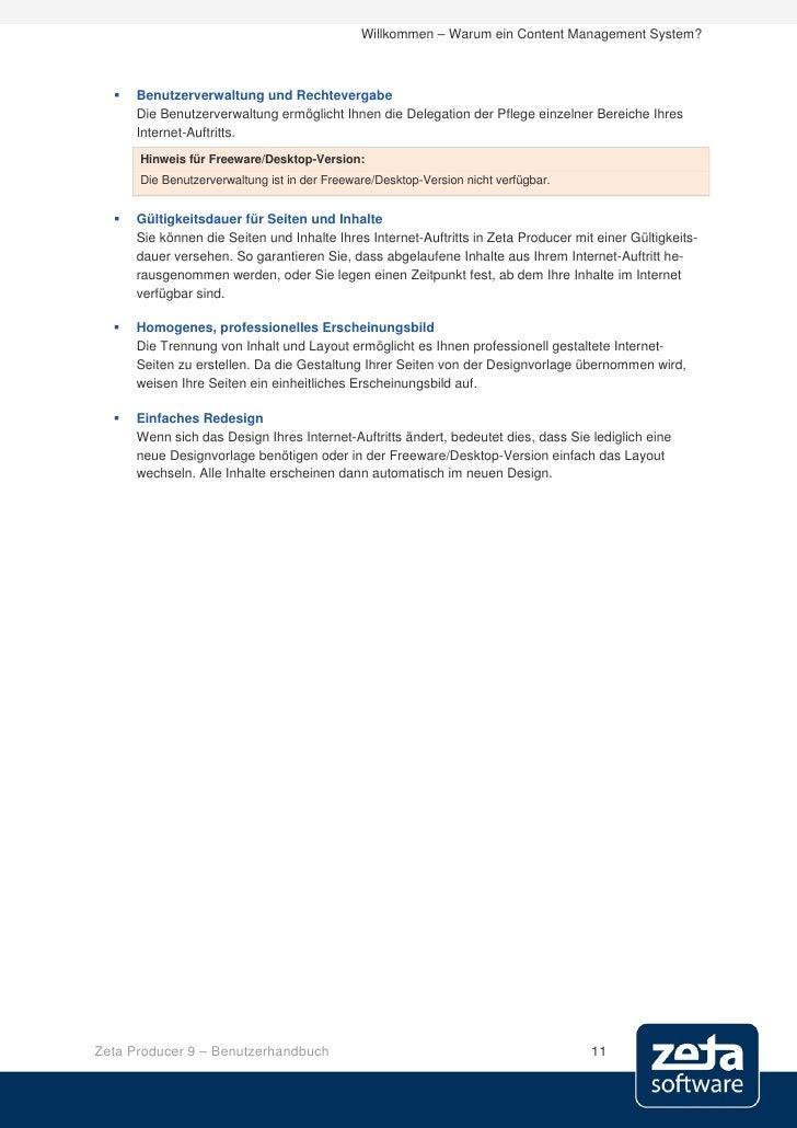 Willkommen – Warum ein Content Management System?         Benutzerverwaltung und Rechtevergabe       Die Benutzerverwaltu...