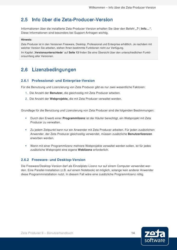 Willkommen – Info über die Zeta-Producer-Version    2.5 Info über die Zeta-Producer-Version Informationen über die install...
