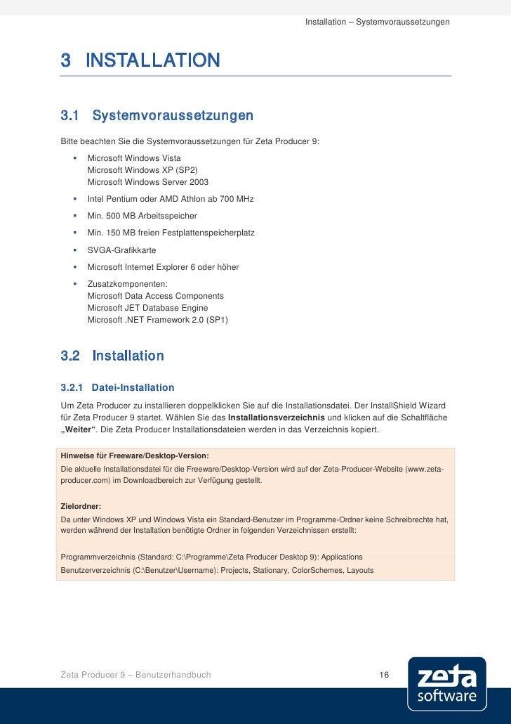 Installation – Systemvoraussetzungen    3 INSTALLATION  3.1 Systemvoraussetzungen Bitte beachten Sie die Systemvoraussetzu...