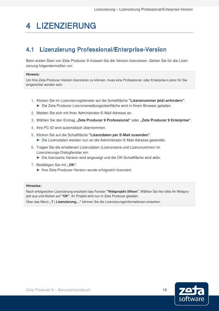 Lizenzierung – Lizenzierung Professional/Enterprise-Version    4 LIZENZIERUNG  4.1 Lizenzierung Professional/Enterprise-Ve...