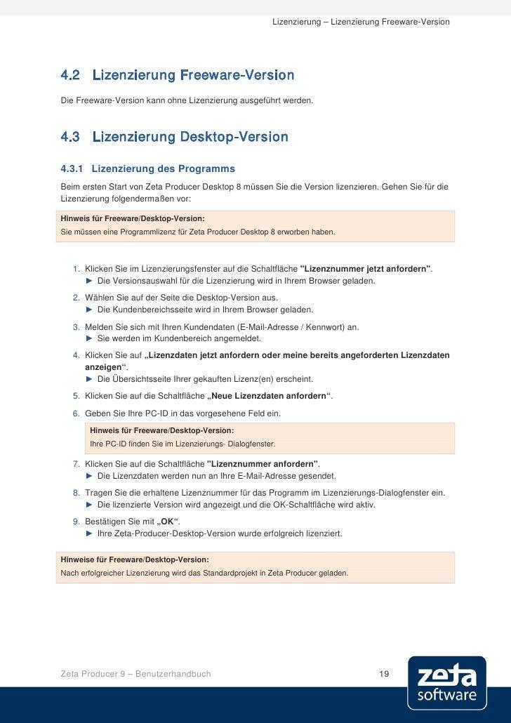 Lizenzierung – Lizenzierung Freeware-Version     4.2 Lizenzierung Freeware-Version Die Freeware-Version kann ohne Lizenzie...