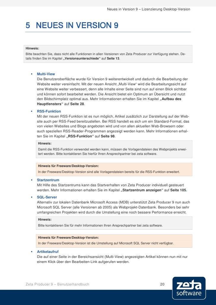 Neues in Version 9 – Lizenzierung Desktop-Version    5 NEUES IN VERSION 9  Hinweis: Bitte beachten Sie, dass nicht alle Fu...