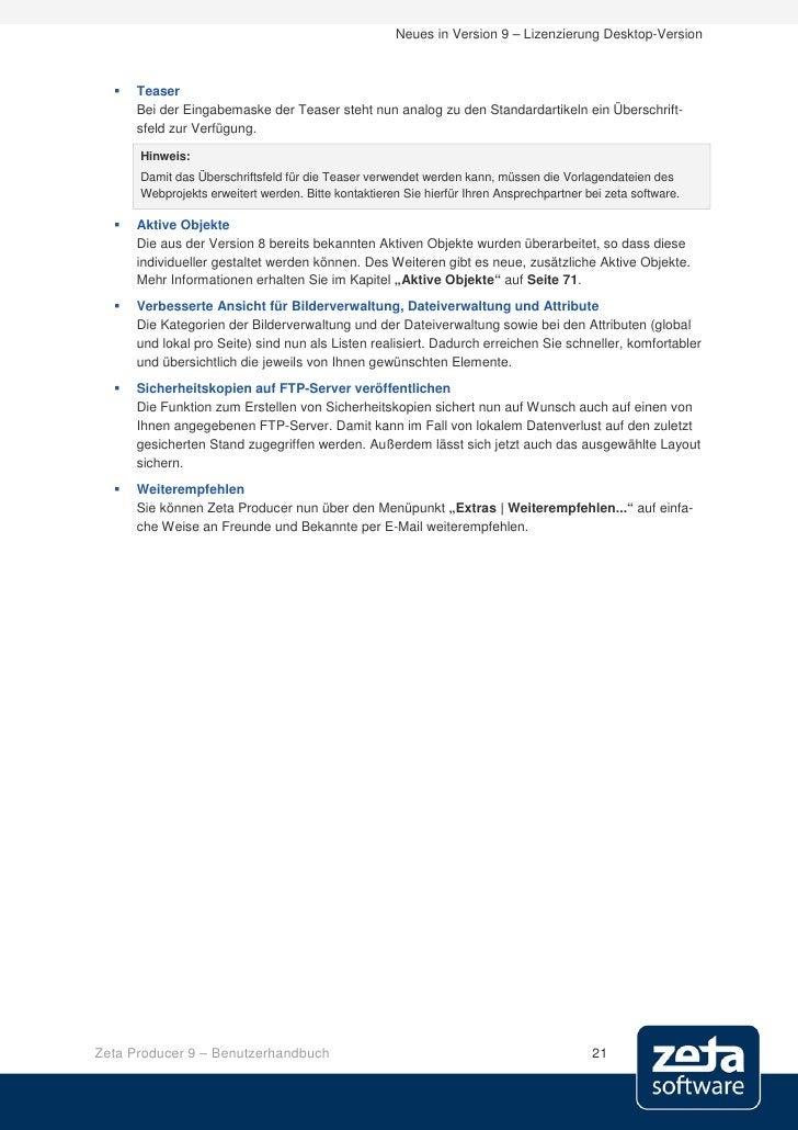 Neues in Version 9 – Lizenzierung Desktop-Version         Teaser       Bei der Eingabemaske der Teaser steht nun analog z...