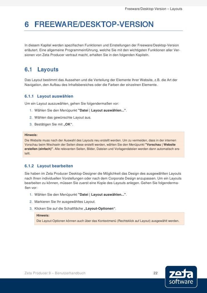 Freeware/Desktop-Version – Layouts    6 FREEWARE/DESKTOP-VERSION  In diesem Kapitel werden spezifischen Funktionen und Ein...