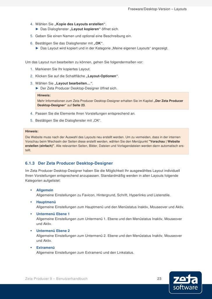 """Freeware/Desktop-Version – Layouts       4. Wählen Sie """"Kopie des Layouts erstellen"""".       ► Das Dialogfenster """"Layout ko..."""