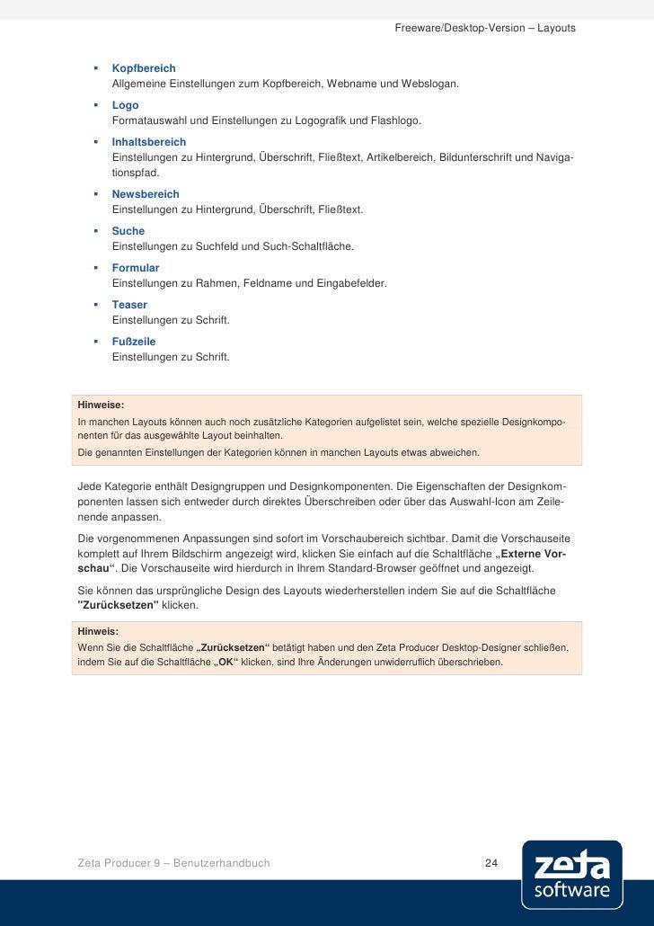 Freeware/Desktop-Version – Layouts         Kopfbereich        Allgemeine Einstellungen zum Kopfbereich, Webname und Websl...