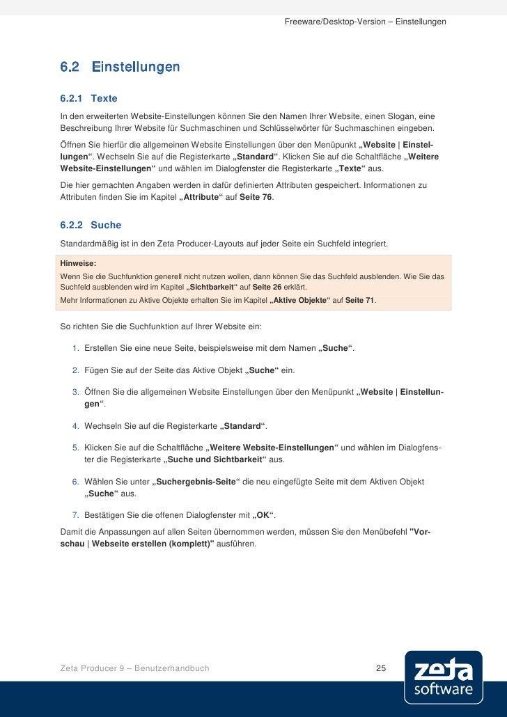 Freeware/Desktop-Version – Einstellungen     6.2 Einstellungen  6.2.1 Texte In den erweiterten Website-Einstellungen könne...