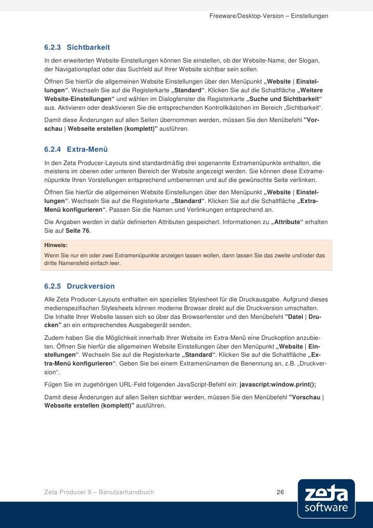 Freeware/Desktop-Version – Einstellungen     6.2.3 Sichtbarkeit In den erweiterten Website-Einstellungen können Sie einste...