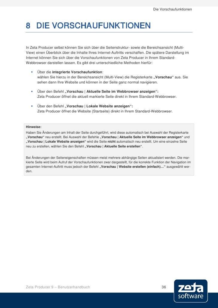 Die Vorschaufunktionen    8 DIE VORSCHAUFUNKTIONEN  In Zeta Producer selbst können Sie sich über die Seitenstruktur- sowie...