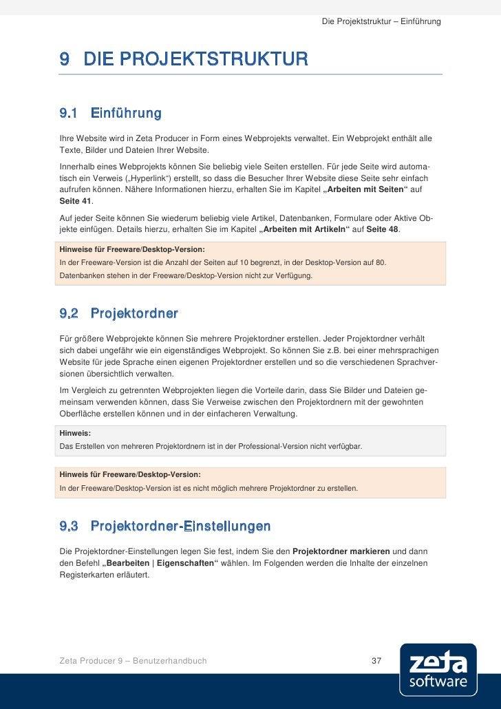 Die Projektstruktur – Einführung    9 DIE PROJEKTSTRUKTUR  9.1 Einführung Ihre Website wird in Zeta Producer in Form eines...