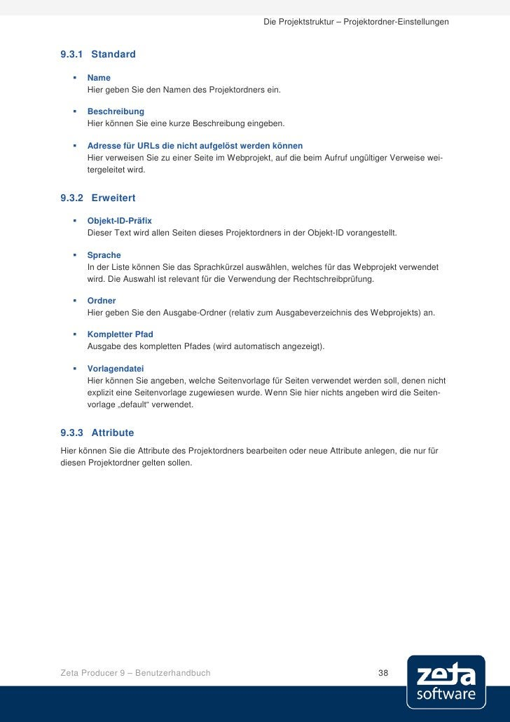 Die Projektstruktur – Projektordner-Einstellungen   9.3.1 Standard        Name        Hier geben Sie den Namen des Projek...