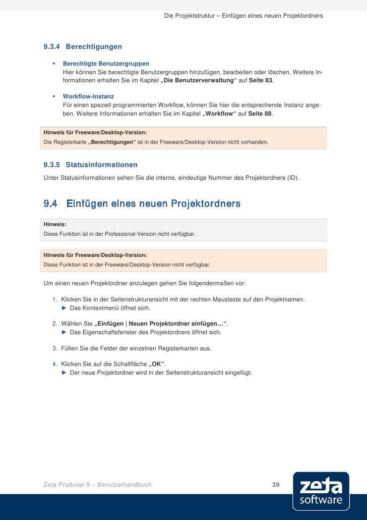 Die Projektstruktur – Einfügen eines neuen Projektordners     9.3.4 Berechtigungen        Berechtigte Benutzergruppen    ...