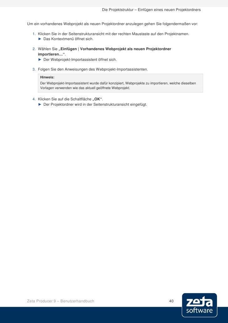 Die Projektstruktur – Einfügen eines neuen Projektordners   Um ein vorhandenes Webprojekt als neuen Projektordner anzulege...