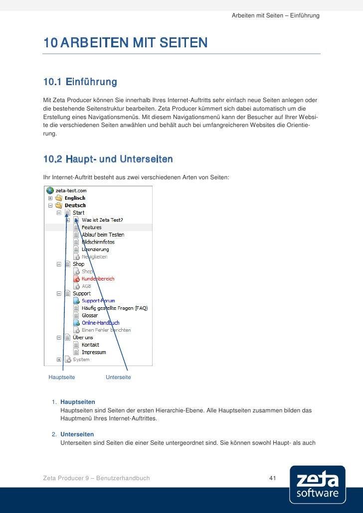 Arbeiten mit Seiten – Einführung    10 ARBEITEN MIT SEITEN  10.1 Einführung Mit Zeta Producer können Sie innerhalb Ihres I...
