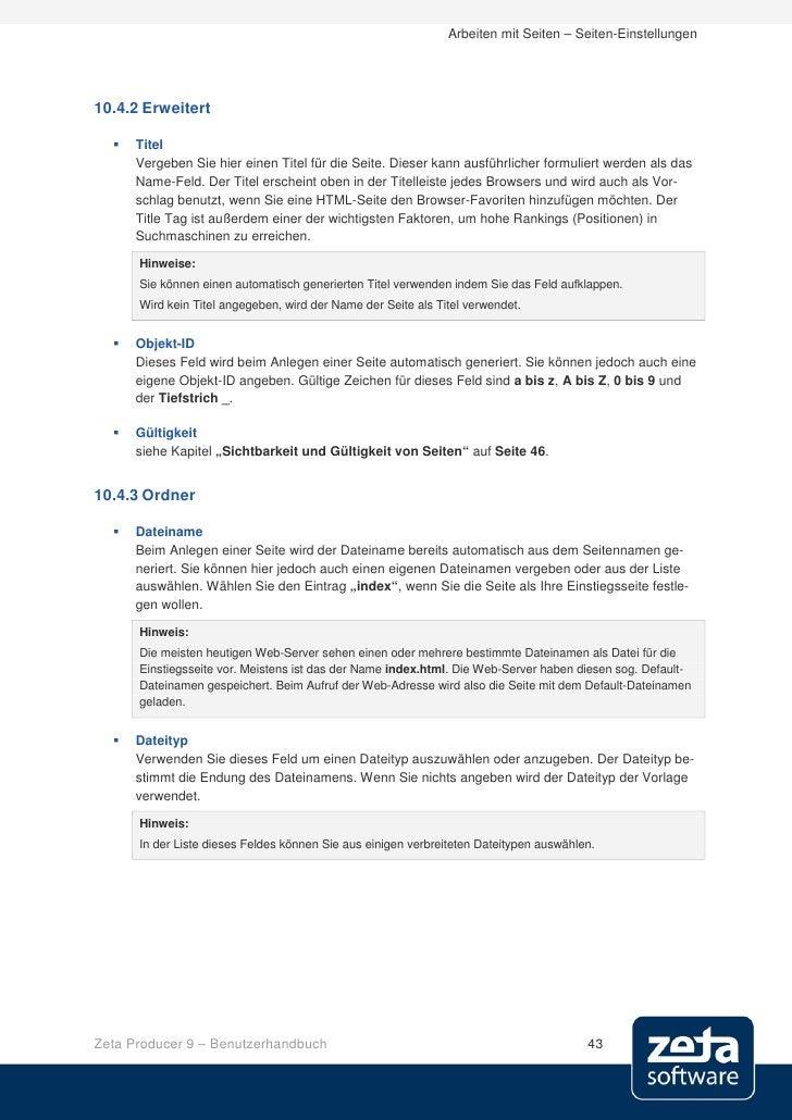 Arbeiten mit Seiten – Seiten-Einstellungen     10.4.2 Erweitert       Titel       Vergeben Sie hier einen Titel für die S...