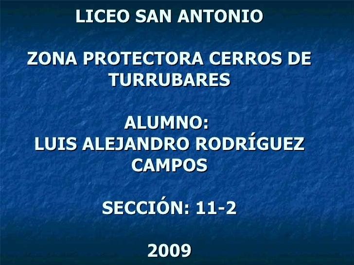 LICEO SAN ANTONIO ZONA PROTECTORA CERROS DE TURRUBARES ALUMNO:  LUIS ALEJANDRO RODRÍGUEZ CAMPOS SECCIÓN: 11-2 2009