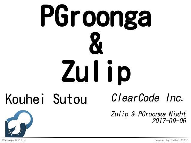 PGroonga & Zulip Powered by Rabbit 2.2.1 PGroonga & Zulip Kouhei Sutou ClearCode Inc. Zulip & PGroonga Night 2017-09-06