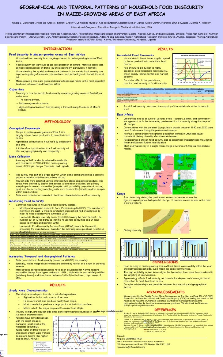 GEOGRAPHICAL AND TEMPORAL PATTERNS OF HOUSEHOLD FOOD INSECURITY IN MAIZE-GROWING AREAS OF EAST AFRICA Nilupa S. Gunaratna ...