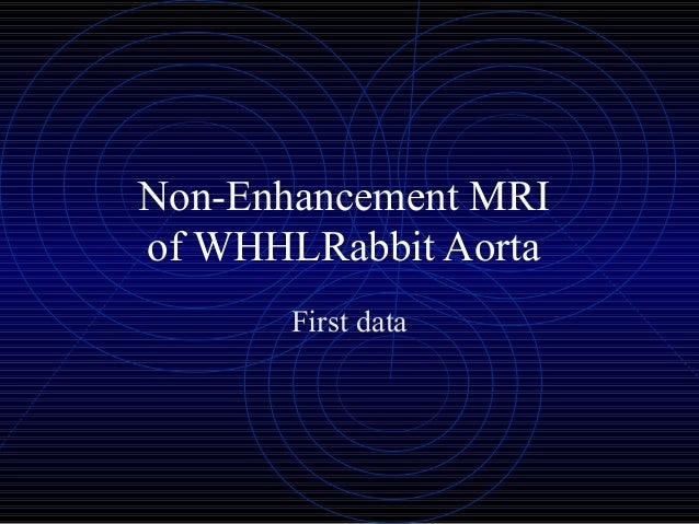 Non-Enhancement MRI of WHHLRabbit Aorta First data