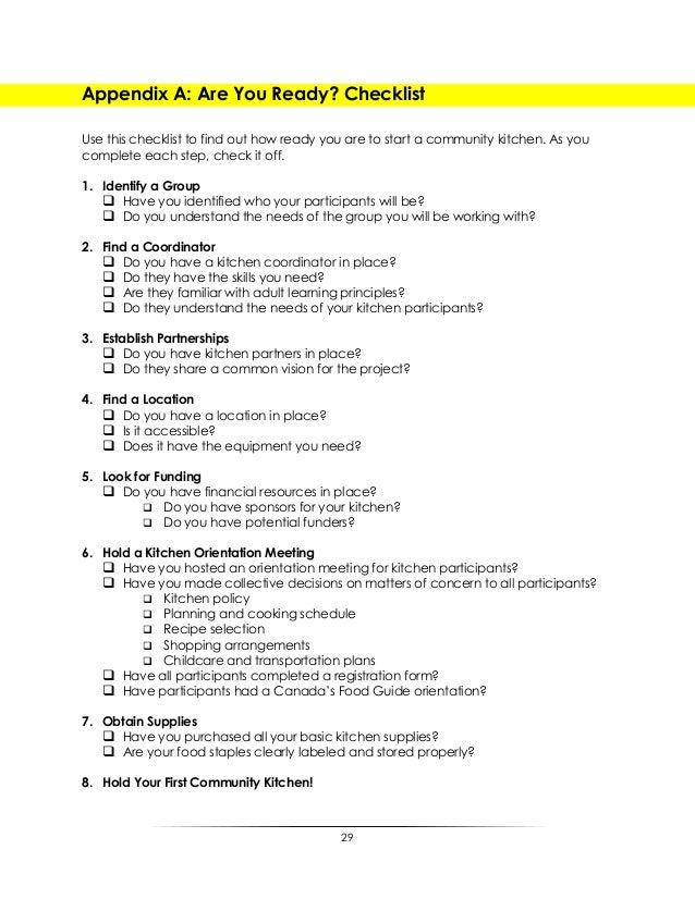 Community Kitchen Best Practices Guide - Basic kitchen supplies