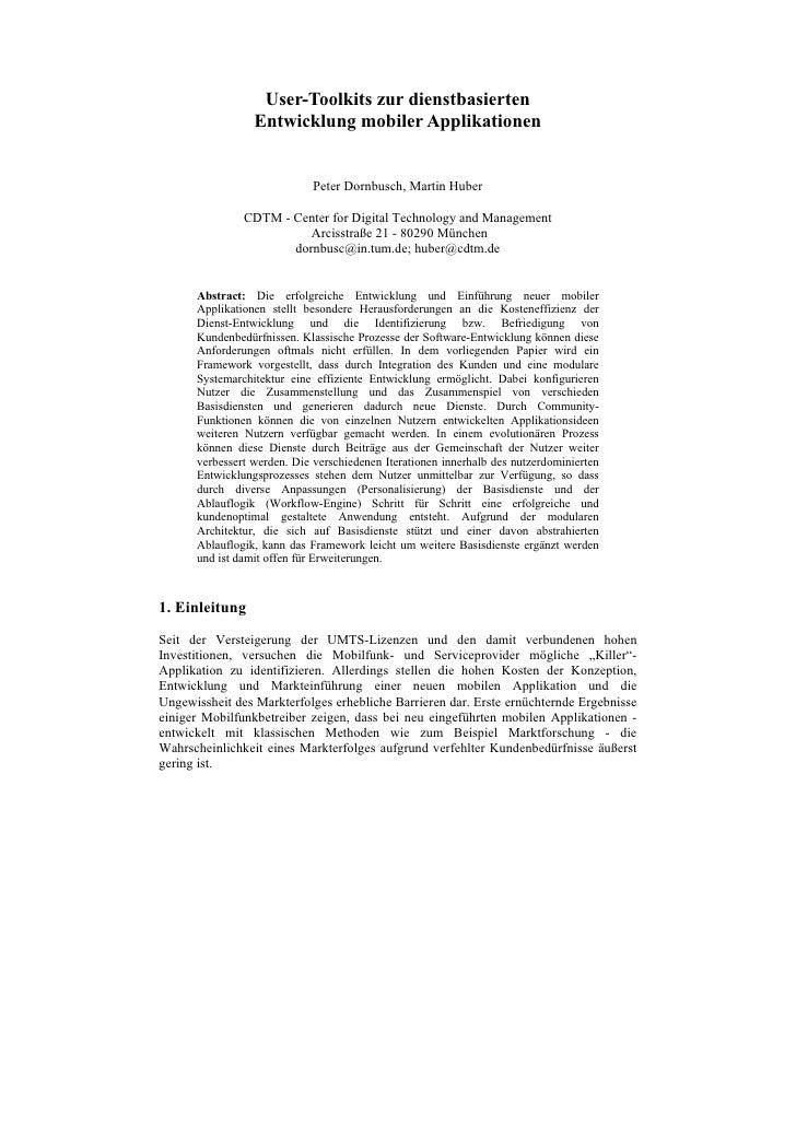 User-Toolkits zur dienstbasierten                  Entwicklung mobiler Applikationen                                Peter ...