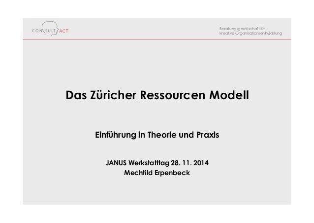 Beratungsgesellschaft für kreative Organisationsentwicklung Das Züricher Ressourcen Modell Einführung in Theorie und Praxi...