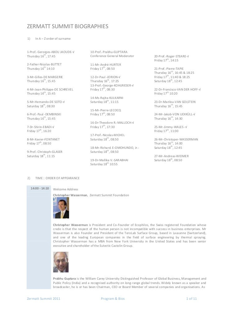 ZERMATT SUMMIT BIOGRAPHIES1)      In A – Z order of surname1-Prof.-Gerorges-ABOU JAOUDE-√                 10-Prof.-Prabhu-...
