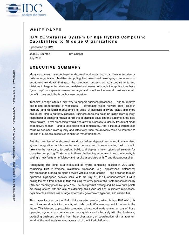 WHITE P APER                                                               IBM zEnterprise System Brings Hybrid Computing ...