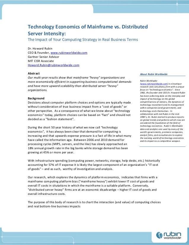 Technology Economics of Mainframe vs. Distributed Server Intensity