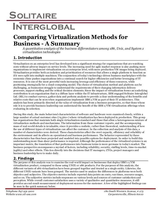 S olitaire  Interglobal     Comparing Virtualization Methods for     Business - A Summary             A quantitative analy...