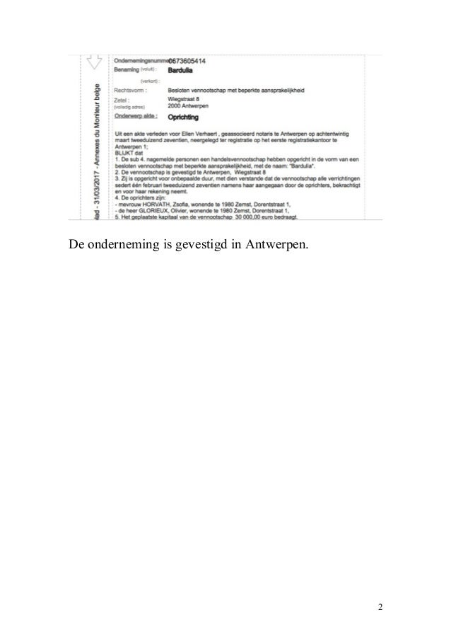 De onderneming is gevestigd in Antwerpen. 2