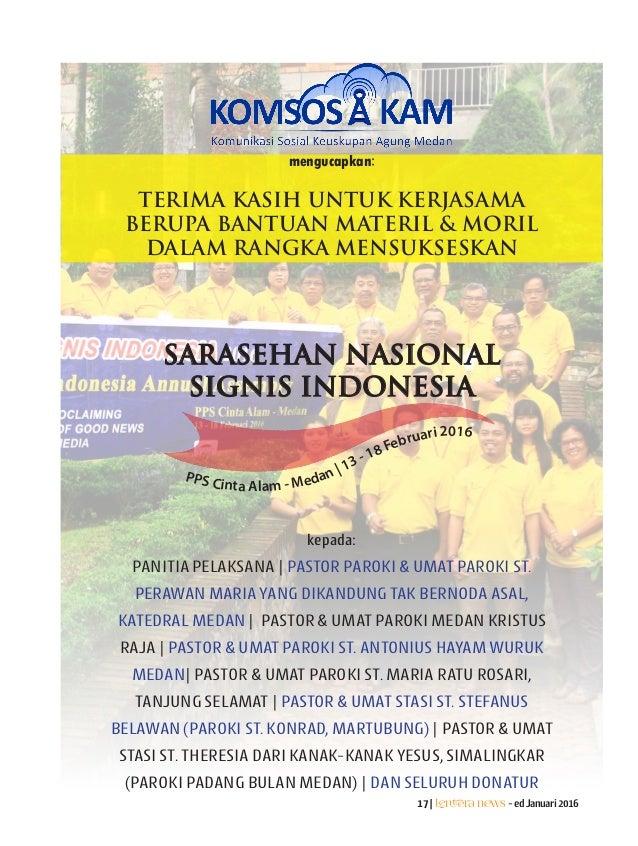 17|Lentera news -edJanuari2016 SARASEHAN NASIONAL SIGNIS INDONESIA PPS Cinta Alam - Medan | 13 - 18 Februari 2016 mengucap...