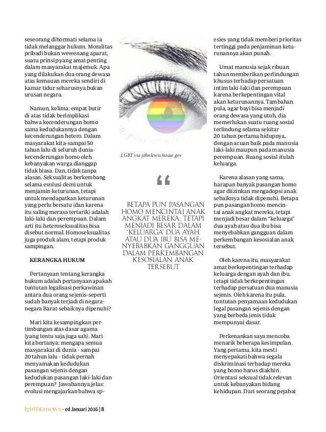 Lentera news -edJanuari2016|8 seseorang dihormati selama ia tidak melanggar hukum. Moralitas pribadi bukan wewenang aparat...