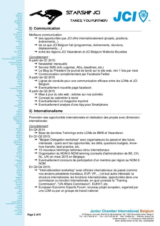 JCI Belgium 2015 - plan d'action #StarshipJCI Slide 2