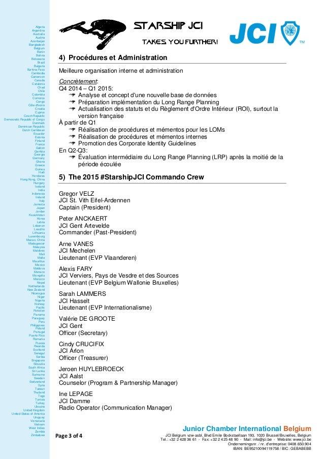 JCI Belgium 2015 - plan d'action #StarshipJCI Slide 3