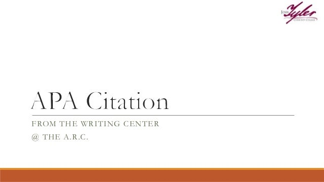 FROM THE WRITING CENTER @ THE A.R.C.