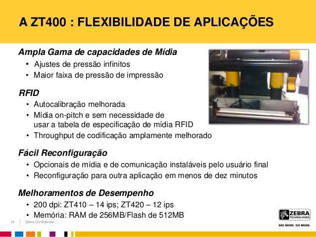 Zebra Confidential A ZT400 : FLEXIBILIDADE DE APLICAÇÕES Ampla Gama de capacidades de Mídia • Ajustes de pressão infinitos...