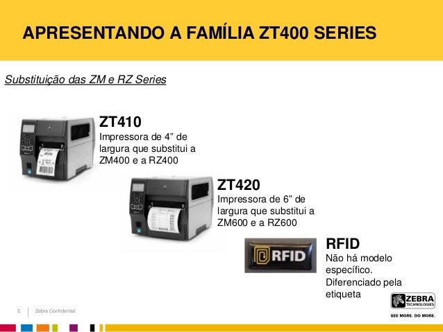 Zebra Confidential APRESENTANDO A FAMÍLIA ZT400 SERIES Substituição das ZM e RZ Series 2 RFID Não há modelo específico. Di...