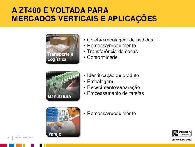 Zebra Confidential A ZT400 É VOLTADA PARA MERCADOS VERTICAIS E APLICAÇÕES • Coleta/embalagem de pedidos • Remessa/recebime...