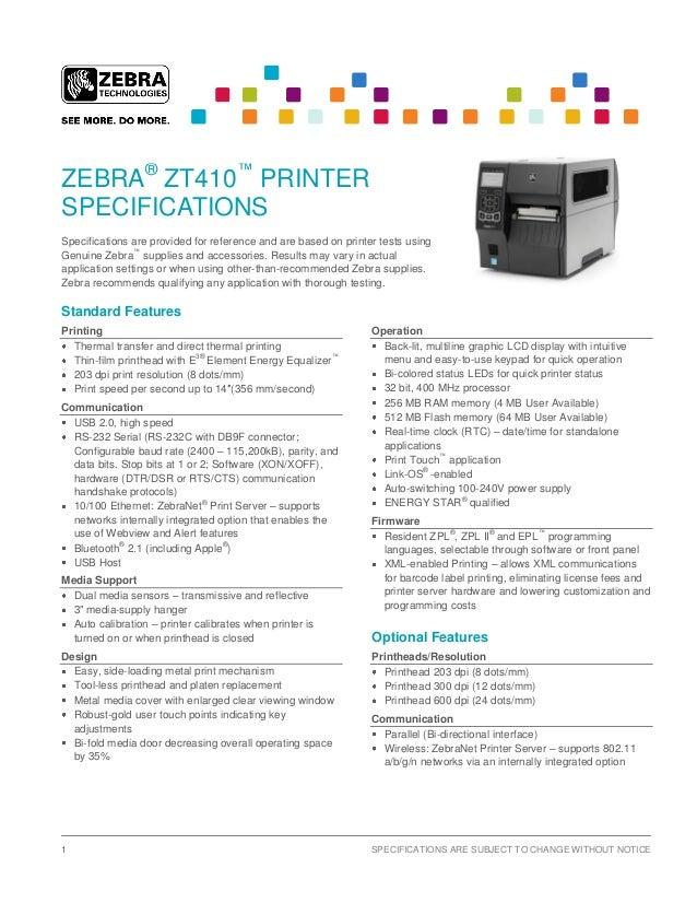 ZT410 - Especificações
