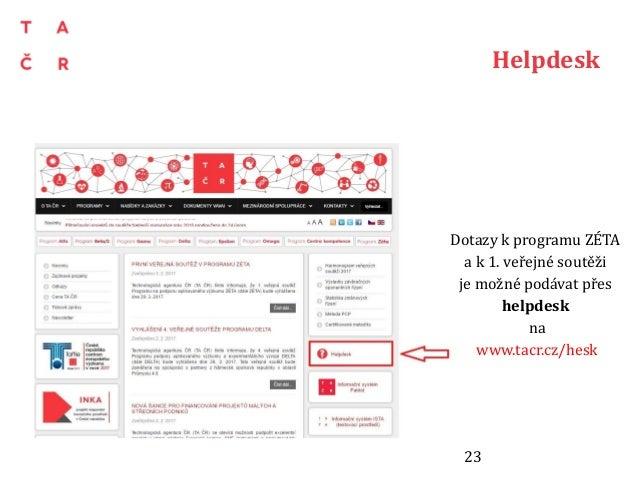 Helpdesk Dotazy k programu ZÉTA a k 1. veřejné soutěži je možné podávat přes helpdesk na www.tacr.cz/hesk 23