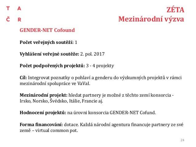 ZÉTA Mezinárodní výzva GENDER-NET Cofound Počet veřejných soutěží: 1 Vyhlášení veřejné soutěže: 2. pol. 2017 Počet podpoře...