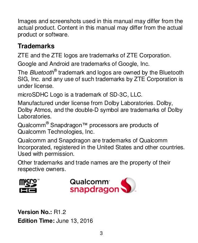 ZTE Axon 7 Manual/User Guide Slide 3