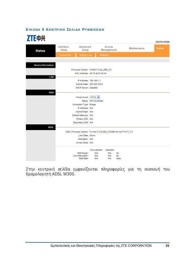 Zte zxv10 w300(b) v5.2 user manual gr