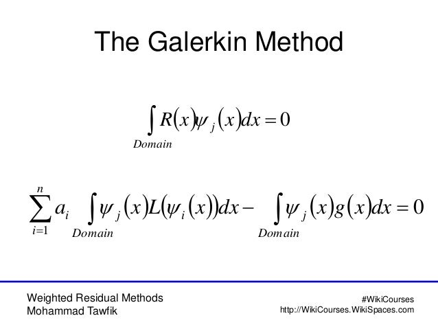 Weighted Residual Methods Mohammad Tawfik #WikiCourses http://WikiCourses.WikiSpaces.com The Galerkin Method     0Do...