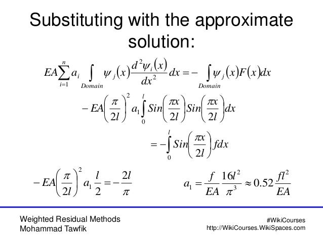 Weighted Residual Methods Mohammad Tawfik #WikiCourses http://WikiCourses.WikiSpaces.com Substituting with the approximate...
