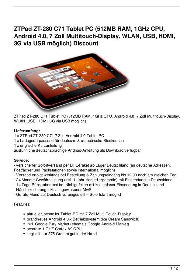 ZTPad ZT-280 C71 Tablet PC (512MB RAM, 1GHz CPU,Android 4.0, 7 Zoll Multitouch-Display, WLAN, USB, HDMI,3G via USB möglich...