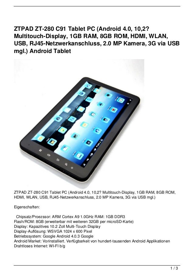 ZTPAD ZT-280 C91 Tablet PC (Android 4.0, 10,2?Multitouch-Display, 1GB RAM, 8GB ROM, HDMI, WLAN,USB, RJ45-Netzwerkanschluss...