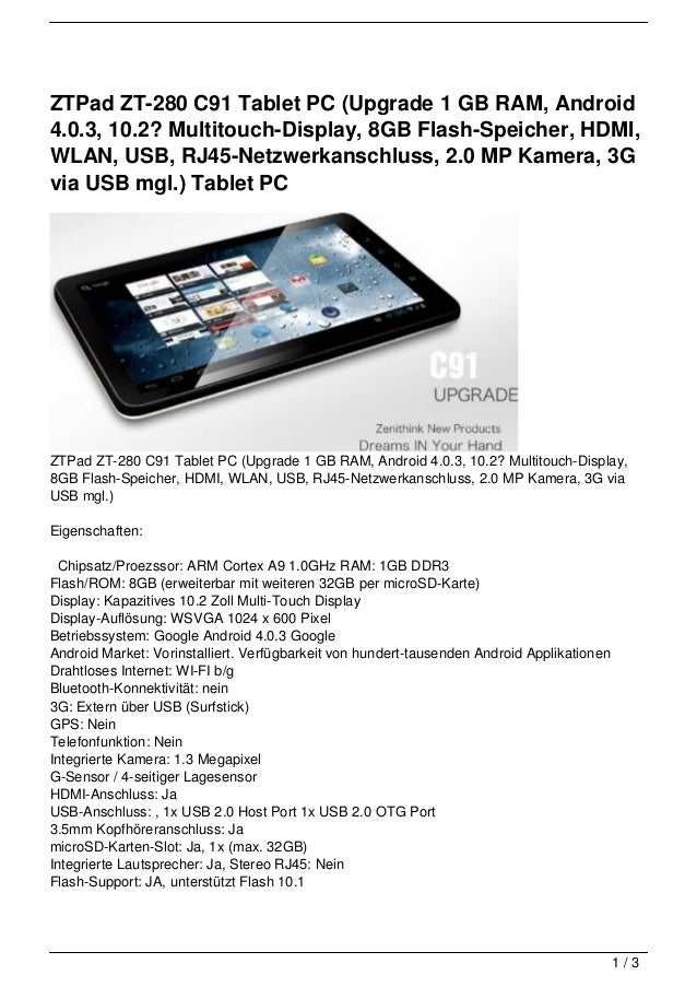 ZTPad ZT-280 C91 Tablet PC (Upgrade 1 GB RAM, Android4.0.3, 10.2? Multitouch-Display, 8GB Flash-Speicher, HDMI,WLAN, USB, ...
